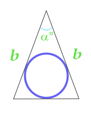Area of a circle inscribed in an isosceles triangle, calculated on the sides of the triangle and the angle between them
