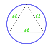 Area of a circle described near an equilateral triangle