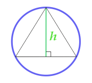 Area of a circle described around an equilateral triangle, calculated from the height of the triangle