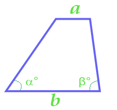 Area of the trapezium through its bases and corners at the base