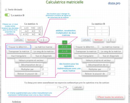 calculatrice matricielle en ligne